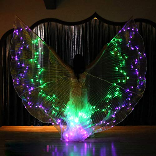 m·kvfa LED Isis Wings Glow Light Up Belly Dance Club Costumes Performance Clothing for Women Girls Carnival Halloween Party (Purple) ()