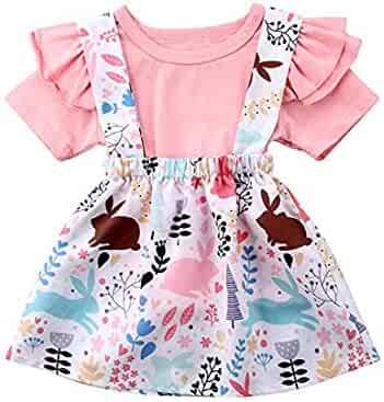 a7cdb1b0e4d Easter Day-Toddler Baby Girl Skirt Set Short Sleeve Ruffle Tops+Floral  Bunny Overalls