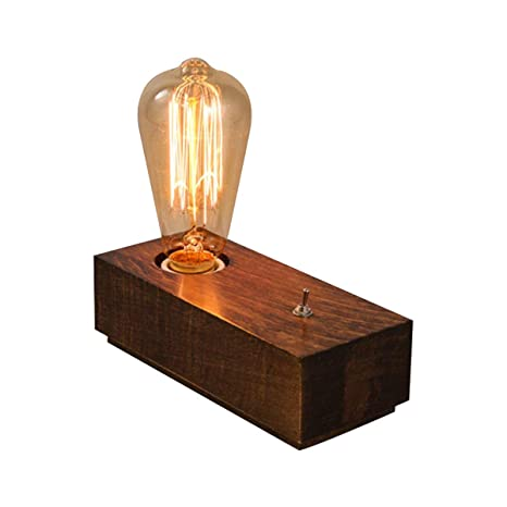 Amazon.com: Lámpara de mesa vintage de madera, lámpara de ...