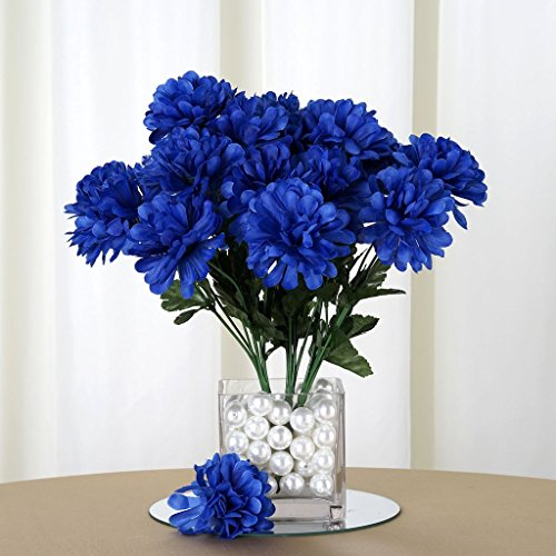 Efavormart 84 Artificial Chrysanthemum Mums Balls for DIY Wedding Bouquet Centerpieces Party Home Decoration Wholesale - Royal Blue