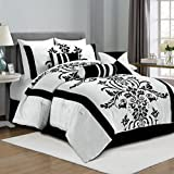 Chezmoi Collection 7-Piece White with Black Floral Flocking Comforter Set Bed-in-a-Bag for King Size Bedding, 106 by 92-Inch