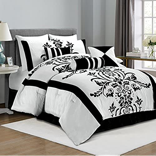 chezmoi collection 7 piece white with black floral flocking comforter set bed in a bag for fulldouble size bedding 86 by 88 inch - Beutiful Bed