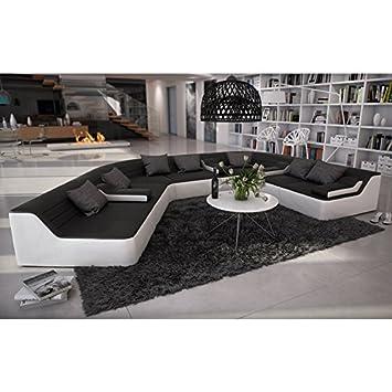 Rund Sofa Mit Bezug Aus Schwarz Weissem Kunstleder 410x272 Cm