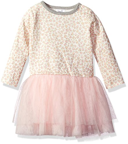 (Mud Pie Baby Toddler Girls' Leopard Long Sleeve Sweatshirt Ruffle Hem Casual Play Dress, Pink, 3T)
