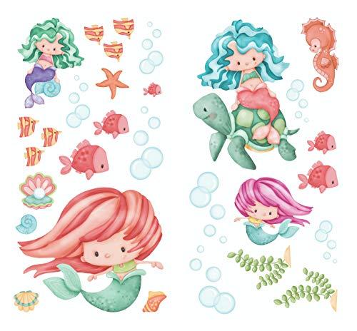 - Borders Unlimited Magical Mermaids Super Jumbo Applique Wall Decals, Multicolor