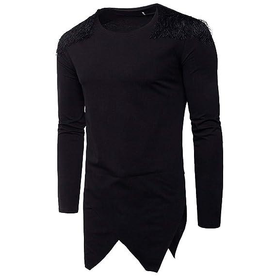Naturazy Sueter para Hombres Moda, Jersey Camisa Irregular OtoñAl Punto Prendas Moda del Color Puro