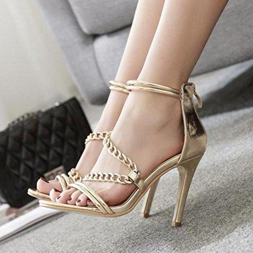 Zapatos GAOLIXIA mujer tacón de Verano de Primavera Oro Confort fino de Citas Fiesta Moda Sandalias Zapatos Gold Cadena oro PU UaPR5nf