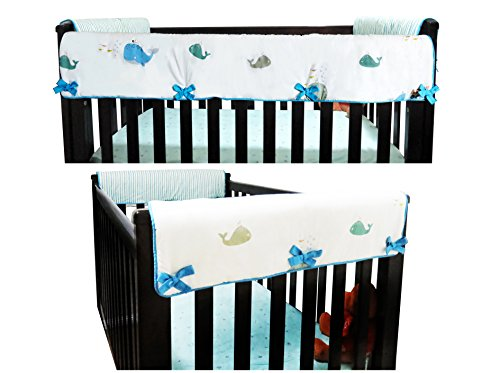 2 Piece 100% Cotton Side Crib Rail Guard Cover/Wrap 29.5'' x 17.5'' for Your Teething Baby,Padding,Cute, Reversible, Machine Washable, Fits Most Standard Narrow & Modern Wide Crib Rails by KAI&HIRO (Image #4)
