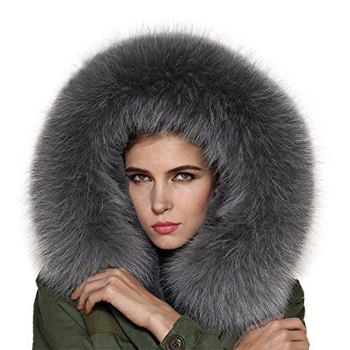 gris 11 nbsp;colores de XXL Cuello abrigo piel Desmontable Cuello Parka bufanda Capucha qwvzTPtWw