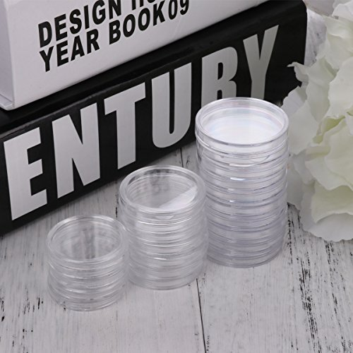 Plastic Coin Capsules Cases Applied Clear Round Storage Container Box 27mm One - Casa Medallion Trays