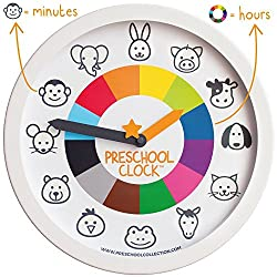 Preschool Collection Preschool Clock Time Teaching Silent Metal Frame Wall Clock 12'' for Kids! The Only Educational Clock a Toddler/Preschooler Understands, Perfect for Bedroom & Classroom
