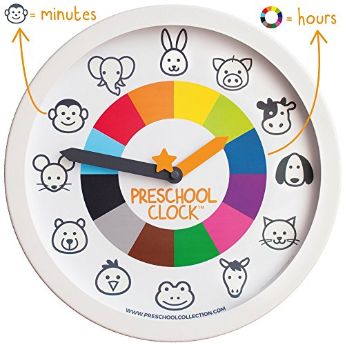 Preschool Collection Preschool Clock Time Teaching Silent Metal Frame Wall Clock 12'' for Kids! The Only Educational Clock a Toddler/Preschooler Understands, Perfect for Bedroom & Classroom (Clock Children Wall)