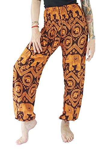 Orange Fisherman Pants - Boho Vib Women's Rayon Elephant Print Boho Harem Yoga Pants (Small/Medium, Elephant B Orange)