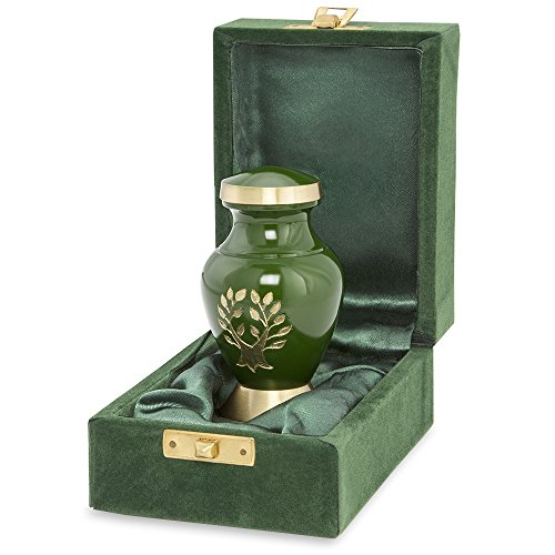 Gold Urn (Tree of Life Small Mini Keepsake Urn For Human Ashes - Qnty 1 - Small, Beautiful, Classic Green and Gold - Find Comfort and Peace With This Quality and Thoughtful Urn - Includes Velvet Case)