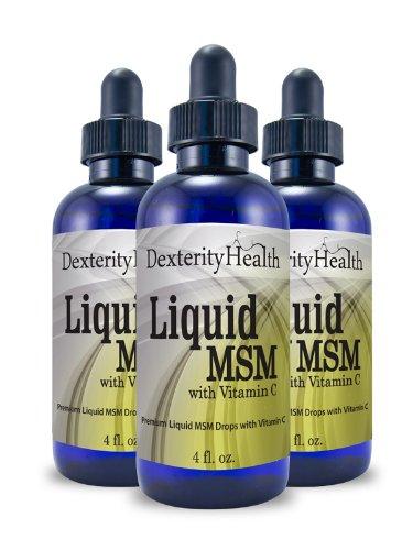 Baisses liquides MSM avec vitamine C, bouteilles de 4 onces, MSM 3pcs, stérile, gouttes pour les yeux avec des ingrédients biologiques, flacons compte-gouttes-Top
