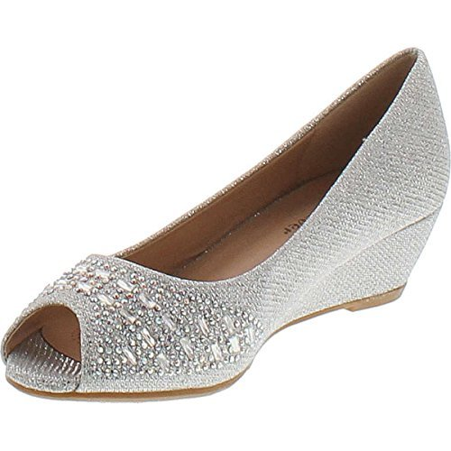 Forever Womens Low Wedge Heel Peep Toe Wedding Party Dress Sandals Shoes,Silver,8