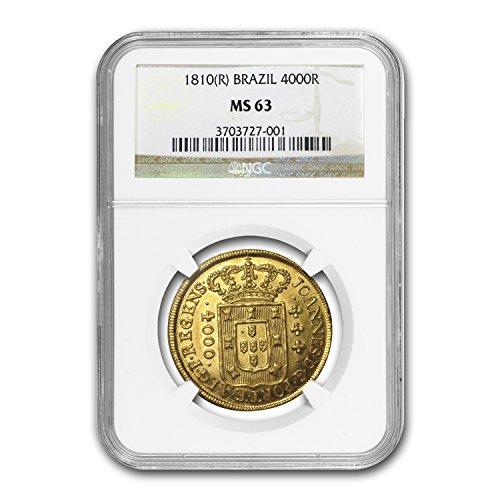 1810 BR R Brazil Gold 4000 Reis Joao VI MS-63 NGC Gold MS-63 NGC