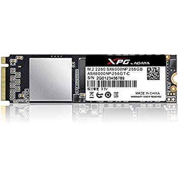 ADATA XPG SX6000 PCIe 256GB 3D NAND PCIe Gen3x2 M.2 2280 NVMe 1.2 R/W up to 1000/800MB/s Solid State Drive (ASX6000NP-256GT-C)
