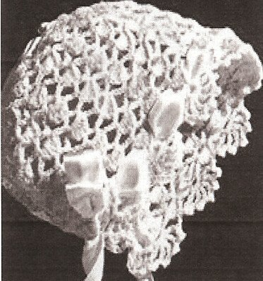 Vintage Crochet PATTERN to make - Antique BABY BONNET cap hat. NOT a finished item. This is a pattern and/or instructions to make the item only.