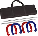 Pro Horseshoe Set - Powder Coated Steel - By Trademark Innovations (Red and Blue)