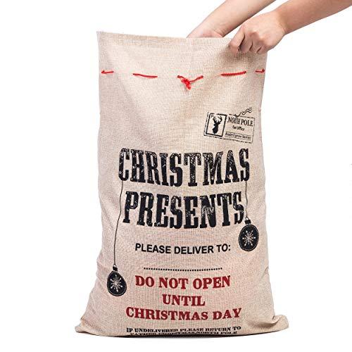 Xena 1 Piece Tan Red Black Extra Large Cotton Christmas Santa Gift Sack Bag W Drawstring 26.5 x 19 Inch Personalize Boy Girls