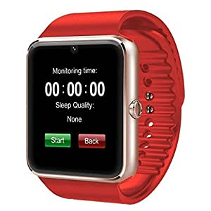 Pandaoo Smart Phone Watch with Universal Unlocked GSM HD LCD Camera Fitness Tracker Bluetooth Mate for Android Smartphones(Gold+Red band)