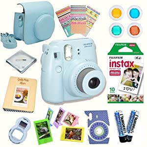 Fujifilm Instax Mini 8 Deluxe kit bundle Includes -Instant camera with Instax mini 8 instant films (10 pack) - Custom Camera Case - instax Album - Frames - Stickers - Close up lens + MORE ...
