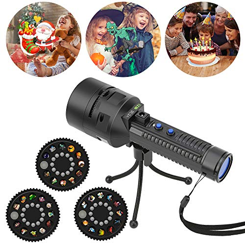 Led Projector Lights, Christmas Halloween Projector Light, Battery Operated Holiday Projector & Handheld Flashlight 2 in 1 Projector Flashlight with 3 Slides 33 Patterns For Home Party - Ken Lighting Ceiling