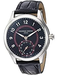 Frederique Constant Mens Horological Smart Swiss Quartz Stainless Steel and Leather Casual Watch, Color:Black...