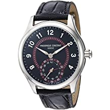 Frederique Constant Men's 'Horological Smart Watch' Swiss Quartz Stainless Steel and Leather Casual, Color:Black (Model: FC-285BBR5B6)