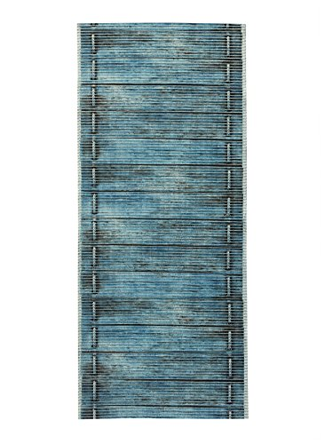 X 2'6 Blue Runner 10' (2-feet X 6-feet Rubber Foam Runner Rug | BLUE Wood Birch Modern Floor Runner 2x6)