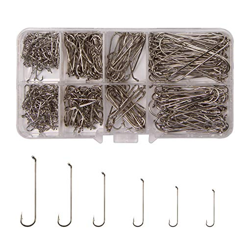 AGOOL 450pcs 79580 Fishing Fly Hooks Fly Tying Hooks Tackle Aberdeen Hooks Long Shank High Carbon Steel Streamer Dry Nymph Pupa& Larva Jig for Freshwater Saltwater Set Box (Streamer Hooks Tying Fly)