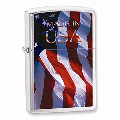 Top 10 Jewelry Gift Zippo Made in USA Flag Brushed Chrome Lighter