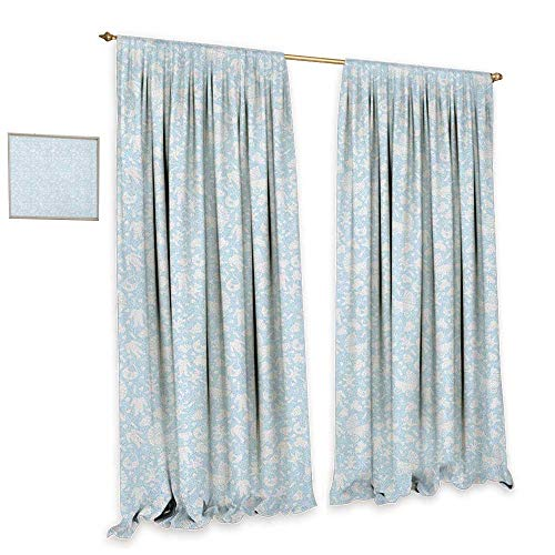 - Baby Patterned Drape for Glass Door Hearts Background with Teddy Bears Strollers Infant Clothes Newborn Child Theme Drapes for Living Room W96 x L96 Pale Blue White