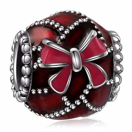 Enamel Religious Charm - HQCROW 925 Sterling Silver Red Enamel Bow Vintage Charms Bead for European Bracelets