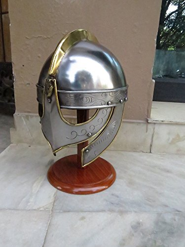 NAUTICALMART Medieval Viking Wolf Armor Helmet with Brass Accents