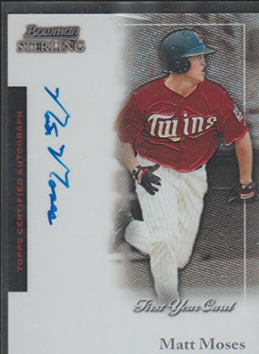 2004 Bowman Sterling Baseball - 2004 Bowman Sterling Matt Moses Twins Autographed Baseball Card #BS-MM