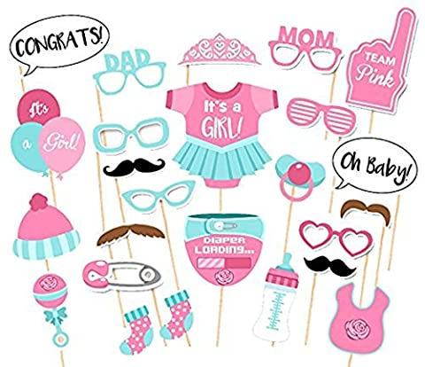 Photo Booth Props Funny DIY Kit for Baby Shower Girl Birthday Party Decorations Costume Dress-up Accessories Doubtless Bay (25Pcs - Pink Party Accessories