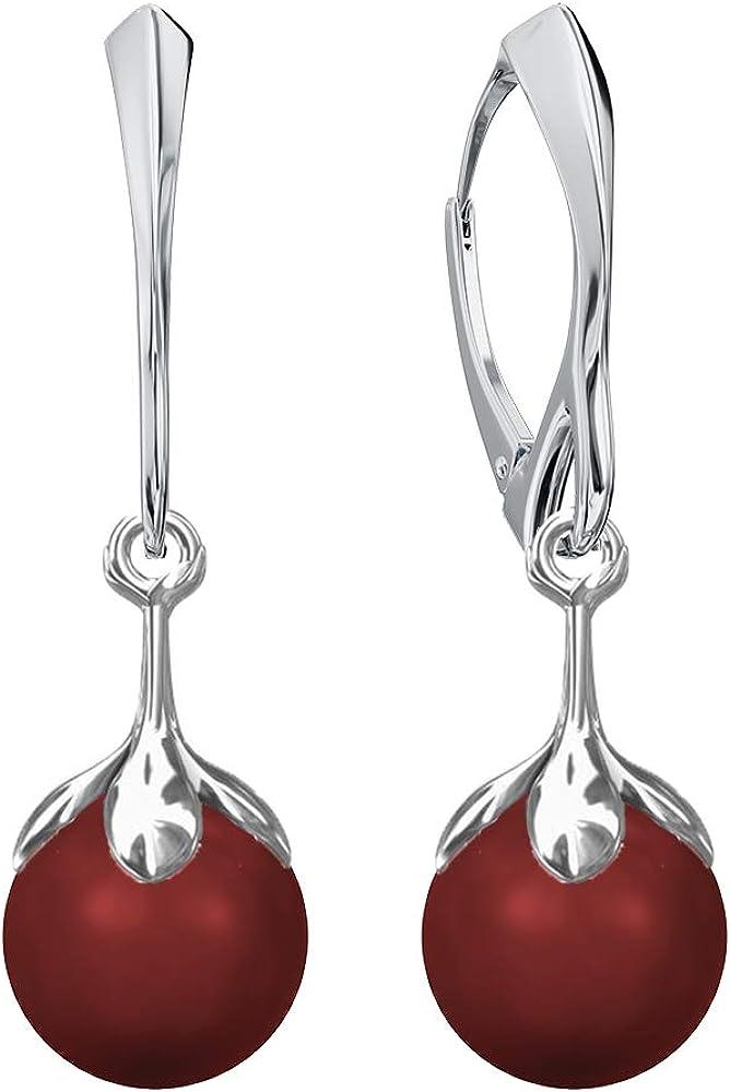 Beforya Paris - Pendientes de plata de ley 925 con perlas de Swarovski, diseño de flores, color rojo coral