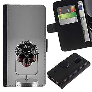 All Phone Most Case / Oferta Especial Cáscara Funda de cuero Monedero Cubierta de proteccion Caso / Wallet Case for Samsung Galaxy S5 V SM-G900 // Nailed Skull