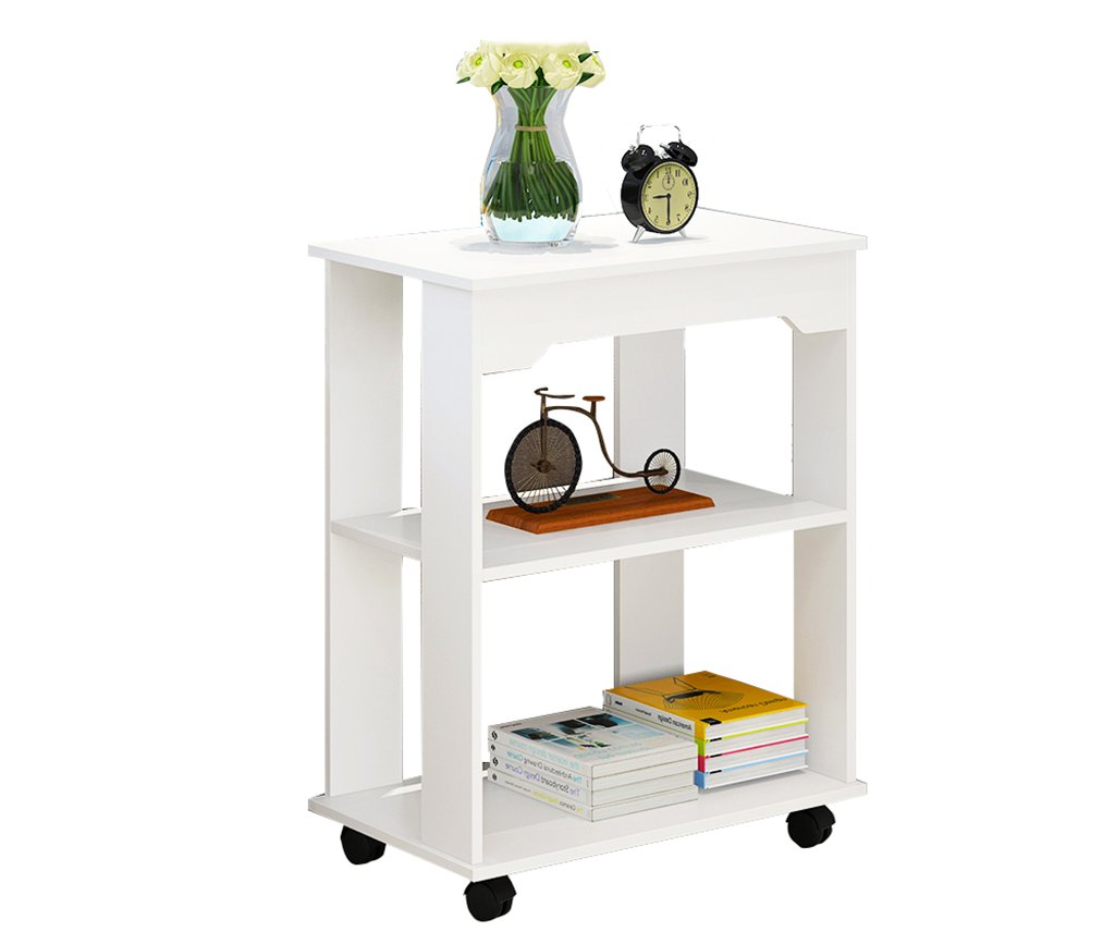 AA Solid Wood Mobile Table, Portable Side Table Mobile Desk Workstation with Pulley Black/White Home (Color : E) by CozyHome