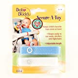 Baby Buddy Secure-A-Toy, Safety Strap Secures Toys, Teether, or Pacifiers to Strollers, Highchairs, Car Seats-Adjustable Length to Keep Toys Sanitary Clean Blue-White 2 Count