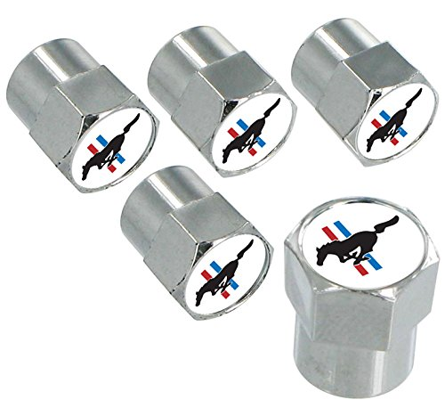 Ford Mustang Chrome Valve Cap Covers with Red, White and Blue Stripes