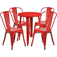 Flash Furniture 24 Round Red Metal Indoor-Outdoor Table Set with 4 Cafe Chairs