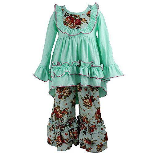 Boutique For Girls (Wennikids Girls Clothes Outfit Kids Ruffle Shirts Dress Boutique Bell Pants Set XX-Large)