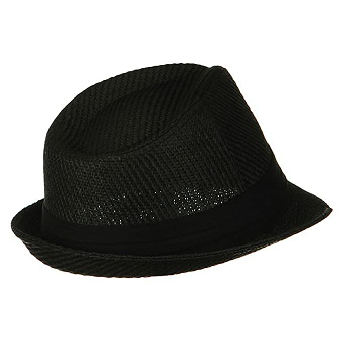 c01a261900be43 Over Size Fedora Hat - Black Black Band W08S58F at Amazon Men's Clothing  store: