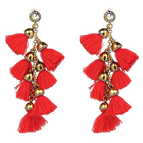 1 Pair Layered Fringe Dangle Tassel Earrings Bohemia Eardrop for Women Jewelry Red