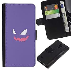 NEECELL GIFT forCITY // Billetera de cuero Caso Cubierta de protección Carcasa / Leather Wallet Case for Samsung Galaxy S4 IV I9500 // Cara púrpura P0kemon