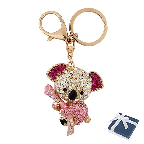 Crystal Key Ring (Women Crystal Keychain Purse Bag Charm Rhinestone Car Pendent Clothing Accessories Handbag Decoration Keyrings With Box Christmas Gift for Girl Woman Lady (Koala))
