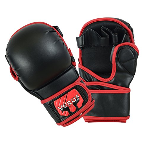 Verus Safety Sparring Heavy Bag MMA Gloves UFC Cage Fighting Grappling Mitts (Red, Medium)
